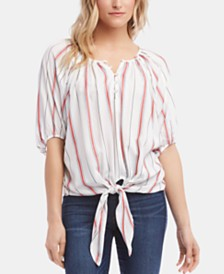 Karen Kane Striped Tie-Front Top