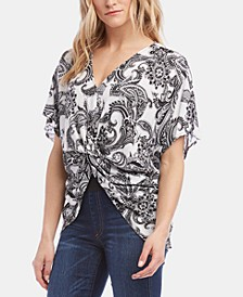 Karen Karen Printed Twist-Front Top