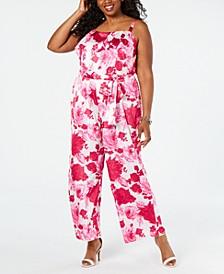 Plus Size Floral Popover Jumpsuit