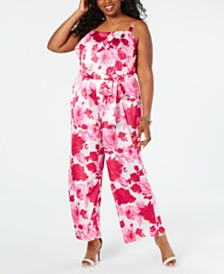 Betsey Johnson Plus Size Floral Popover Jumpsuit