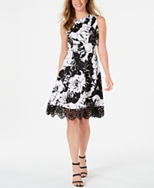 Donna Ricco Crochet-Hem Fit & Flare Dress
