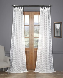 """Exclusive Fabrics & Furnishings Toulouse Key Taupe Patterned Sheer 50"""" x 108"""" Curtain Panel"""