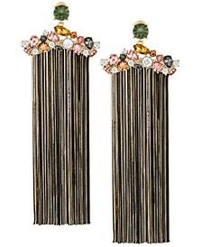 ZAXIE Gilded Desire Cluster Stone Fringe Earrings