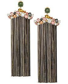 ZAXIE Gilded Desire Cluster Stone Fringe Earrings