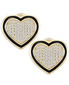 ZAXIE Pave Heart Stud Earrings