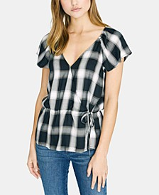 Faux Wrap Plaid Blouse