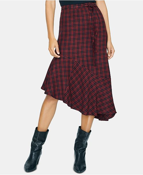 Sanctuary She's The One Plaid Asymmetric Skirt