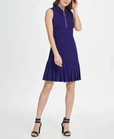 DKNY Sleeveless Pleat Flounce Skirt Dress