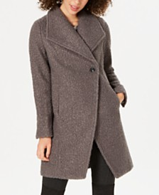 Tahari Sheila Asymmetrical Textured Coat