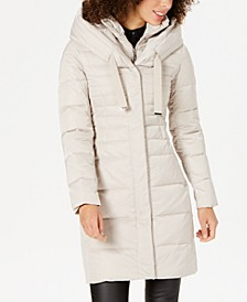 Pillow-Collar Hooded Down Puffer Coat
