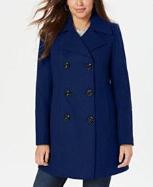 Anne Klein Petite Double-Breasted Peacoat, Created for Macy's