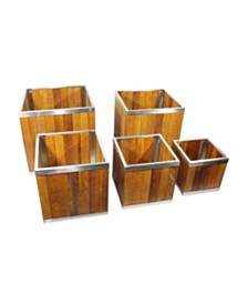 Leisure Season Square Wooden Planter with Stainless Steel Trim