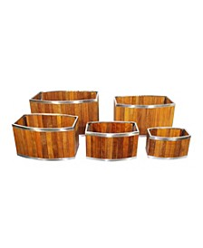 Oval Wooden Planter with Stainless Steel Trim