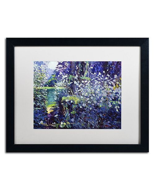 "Trademark Global David Lloyd Glover 'Tangled White Flowers' Matted Framed Art - 16"" x 20"""