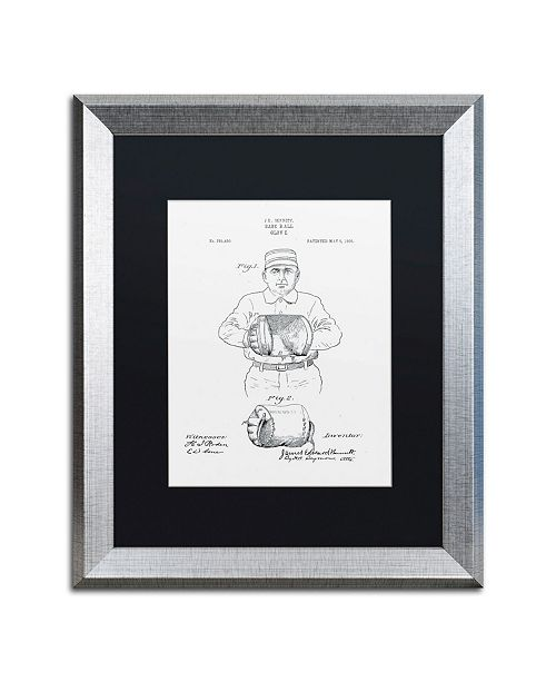 """Trademark Global Claire Doherty 'Baseball Glove Patent 1905 White' Matted Framed Art - 16"""" x 20"""""""