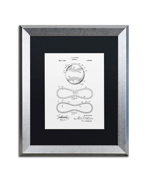 "Trademark Global Claire Doherty 'Baseball Patent 1928 White' Matted Framed Art - 16"" x 20"""
