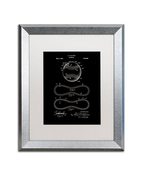 """Trademark Global Claire Doherty 'Baseball Patent 1928 Black' Matted Framed Art - 16"""" x 20"""""""