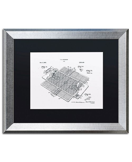 """Trademark Global Claire Doherty 'Basketball Court Game Patent White' Matted Framed Art - 20"""" x 16"""""""