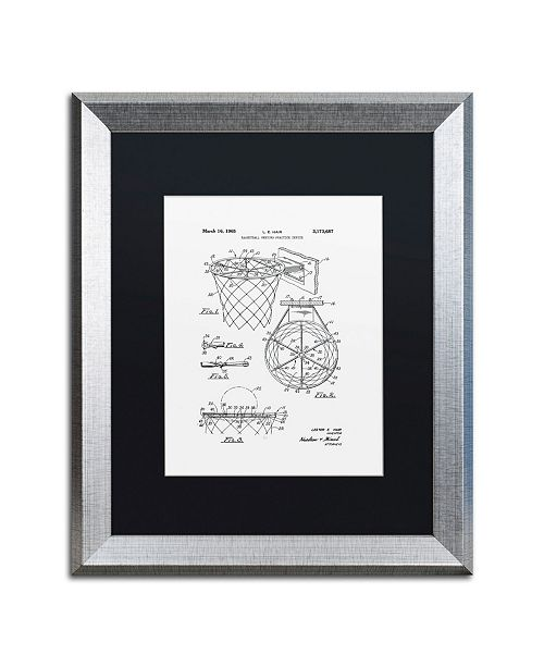 "Trademark Global Claire Doherty 'Basketball Hoop Patent 1965 White' Matted Framed Art - 16"" x 20"""