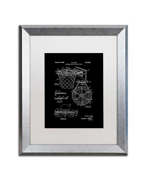 """Trademark Global Claire Doherty 'Basketball Hoop Patent 1965 Black' Matted Framed Art - 16"""" x 20"""""""