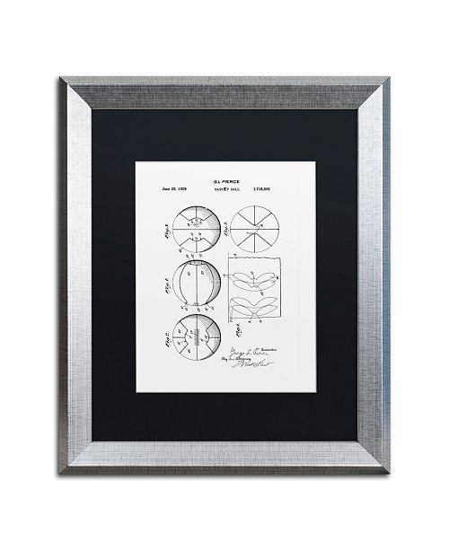 """Trademark Global Claire Doherty 'Basketball Patent 1929 White' Matted Framed Art - 16"""" x 20"""""""