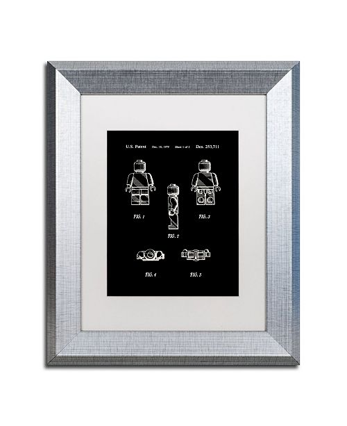 "Trademark Global Claire Doherty 'Lego Man Patent 1979 Page 1 Black' Matted Framed Art - 11"" x 14"""