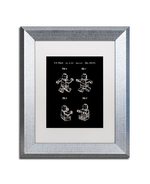 "Trademark Global Claire Doherty 'Lego Man Patent 1979 Page 2 Black' Matted Framed Art - 11"" x 14"""