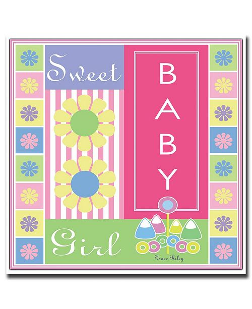 "Trademark Global Sweet Baby Girl by Grace Riley-Framed Canvas Art - 24"" x 24"""