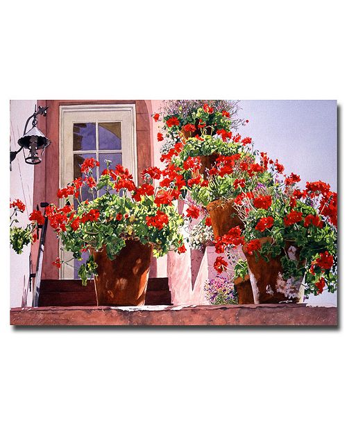 "Trademark Global David Lloyd Glover 'Geraniums on the Stairs' Canvas Art - 24"" x 16"""