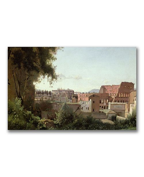 "Trademark Global Jean Baptiste Corot 'View of the Colosseum' Canvas Art - 32"" x 19"""