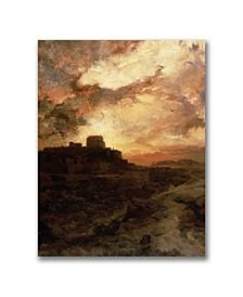 "Thomas Moran 'Sunset, Pueblo del Walpe, Arizona' Canvas Art - 32"" x 24"""