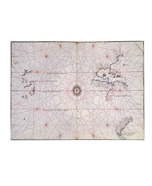 "Trademark Global 'Nautical Chart of the Pacific Ocean 1500's' Canvas Art - 14"" x 19"""