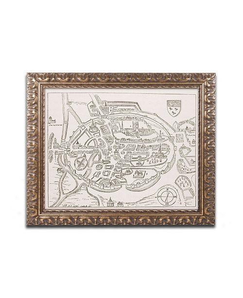 "Trademark Global Panoramic View of Canterbury 16th Century' Ornate Framed Art - 14"" x 11"""
