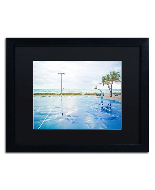 "Trademark Global Preston 'Basketball by the Beach' Matted Framed Art - 16"" x 20"""