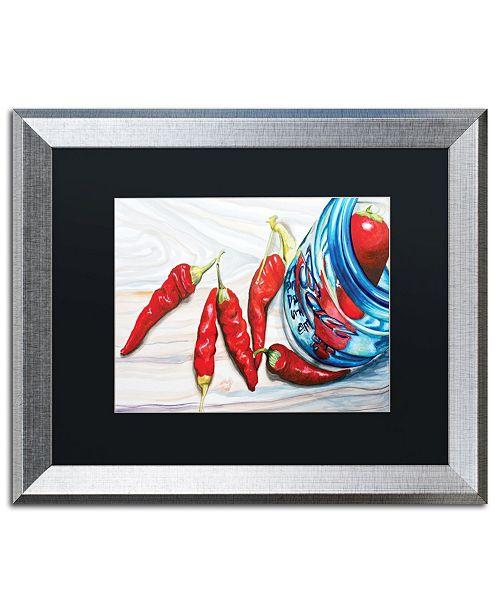 "Trademark Global Jennifer Redstreake 'Ball Jar Peppers' Matted Framed Art - 16"" x 20"""