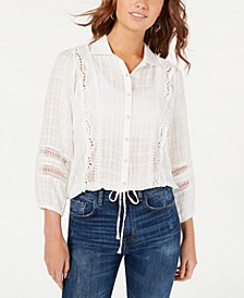 Juniors' Crochet-Trimmed Textured Top, Created for Macy's