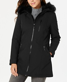 Calvin Klein Hooded Faux-Fur-Trim Raincoat