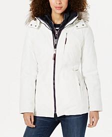 Faux-Fur-Trim Hooded Parka Coat