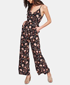1.STATE Floral-Print Surplice Jumpsuit