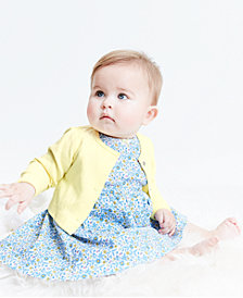 Carter's Baby Girls 2-Pc. Floral-Print Cotton Dress & Cardigan Sweater Set