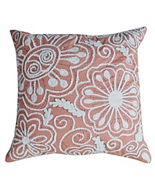 """Nature Inspired Embroidered Throw Pillow Cover 20"""" x 20"""""""