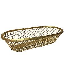 """KINDWER Gilded 17"""" Chain-Link Metal Bread Basket"""
