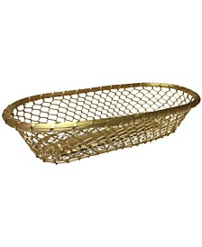 "St. Croix KINDWER Gilded 17"" Chain-Link Metal Bread Basket"