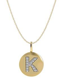 14k Gold Necklace, Diamond Accent Letter K Disk Pendant