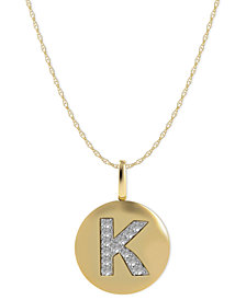 14k Gold Necklace, Diamond Accent Letter K Disk Pendant