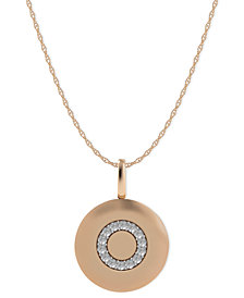 14k Rose Gold Necklace, Diamond Accent Letter O Disk Pendant