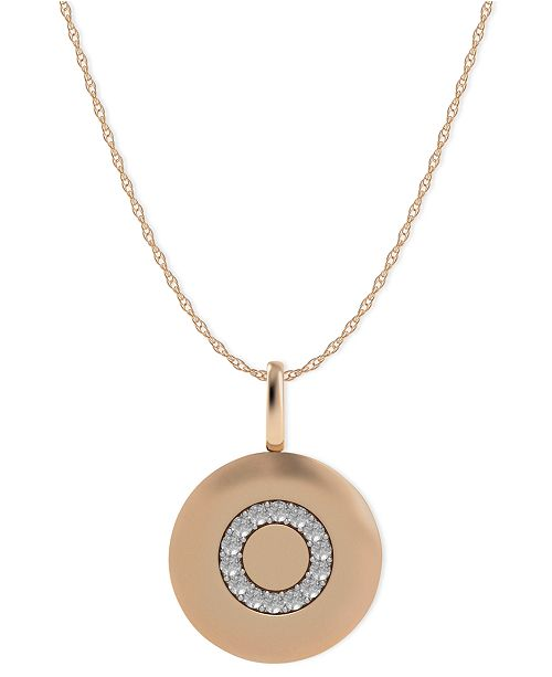 Macy's 14k Rose Gold Necklace, Diamond Accent Letter O Disk Pendant
