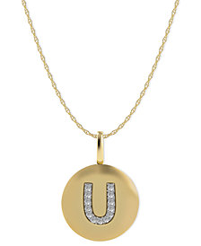 14k Gold Necklace, Diamond Accent Letter U Disk Pendant