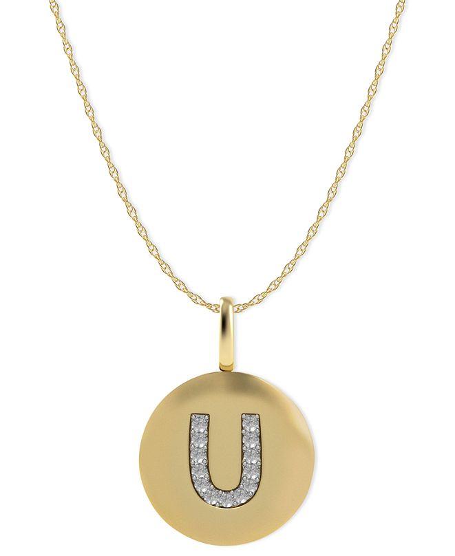 Macy's 14k Gold Necklace, Diamond Accent Letter U Disk Pendant