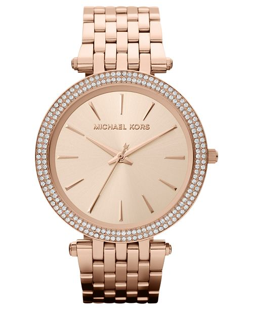 Women S Darci Rose Gold Tone Stainless Steel Bracelet Watch 39mm Mk3192